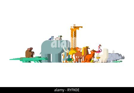 Set family animals. Pairs of beasts. Noah animal. Vector - Stock Photo