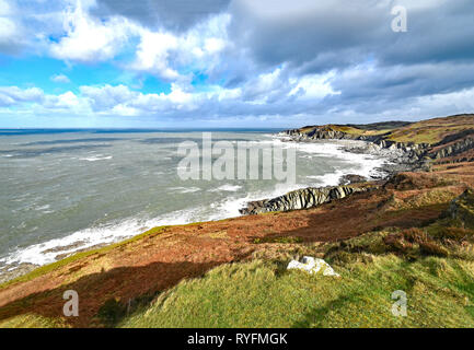 The view from the Southwest Coast Path at Morte Point, looking east towards Bull Point, North Devon, England - Stock Photo