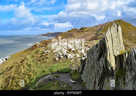 Looking east towards Bull Point from the Southwest Coast Path at Morte Point, North Devon, England. - Stock Photo