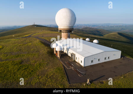 Aerial image of Lowther Hill National Air Traffic Services Radar Station above the villages of Wanlockhead and Leadhills in Dumfries and Galloway. - Stock Photo