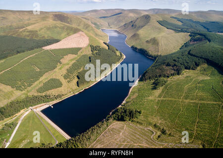 Aerial image of Talla Reservoir looking north towards Hartfell. - Stock Photo