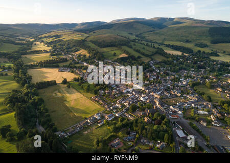 Aerial image of the Scottish Border market town of Moffat in Dumfries and Galloway. - Stock Photo