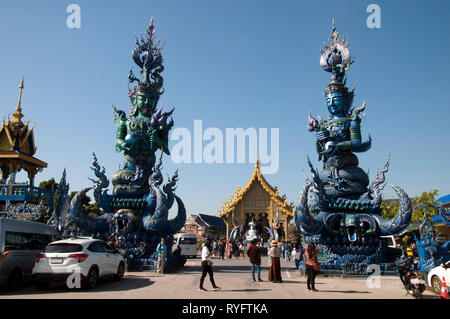 Chiang Rai Thailand Dec 27 2018, giant guardians at entrance to  Wat Rong Seur Ten or the Blue temple - Stock Photo