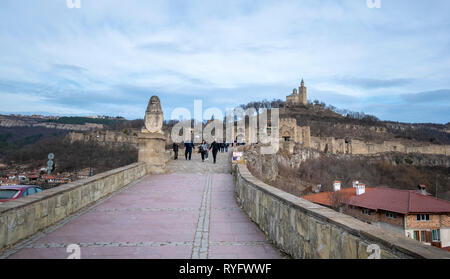 Beautiful panoramic view of medieval Tsarevets fortress in Veliko Tarnovo, Bulgaria day view. the famous historical capital. Panorama. - Stock Photo