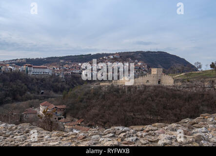 Beautiful panoramic view from Tsarevets fortress to the old town of Veliko Tarnovo and medieval Trapezitsa Fortress in Bulgaria. Panorama - Stock Photo