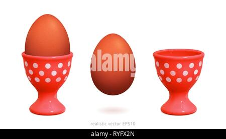 Red plastic egg cups decorated with white polka dot. 3d realistic image of vintage egg holder. Boiled brown chicken egg is over white background. - Stock Photo