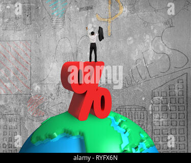 Cheering businessman standing on red percentage sign and 3d globe with doodles wall background - Stock Photo