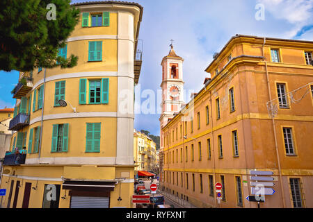 City of Nice colorful street architecture and church view, tourist destination of French riviera, Alpes Maritimes depatment of France - Stock Photo