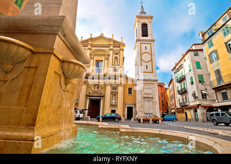 Cathedral Sainte-Réparate and Place Rossetti square in Nice view, Cote d Azur, France - Stock Photo
