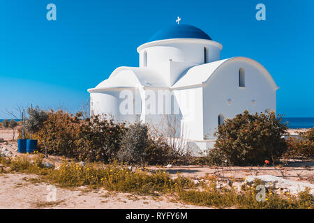 The multi Denominational Church of St Nicholas on a shore in Paphos, Cyprus - Stock Photo