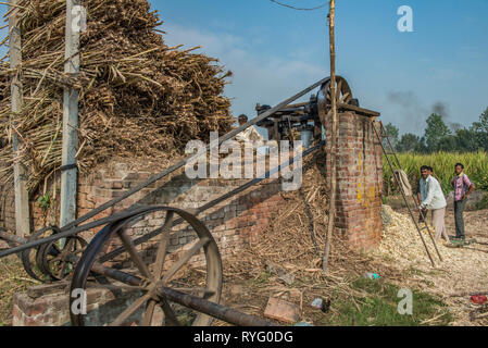 HIMACHAL PRADESH, INDIA. Squeezing machine in a traditional cane sugar plant in rural India - Stock Photo