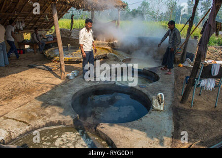 INDIA,10-29-2015.  rural plant for production of cane sugar - Stock Photo