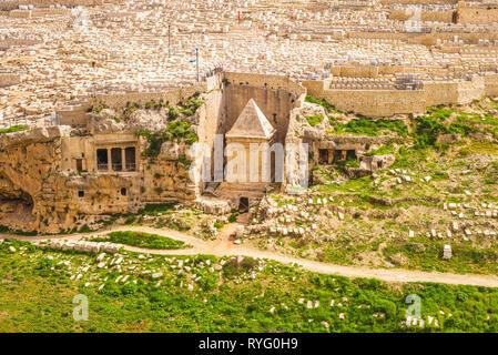 Zechariah Tomb in Kidron Valley, Jerusalem, Israel - Stock Photo