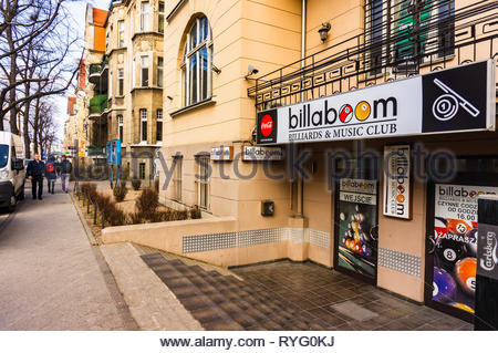 Poznan, Poland - March 1, 2019: Front of a Billaboom billiard and music club in the city center. - Stock Photo