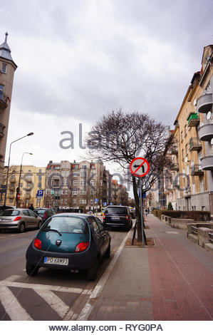 Poznan, Poland - March 8, 2019: Parked small Ford Ka car by a sidewalk on the Slowackiego street in the city center. - Stock Photo