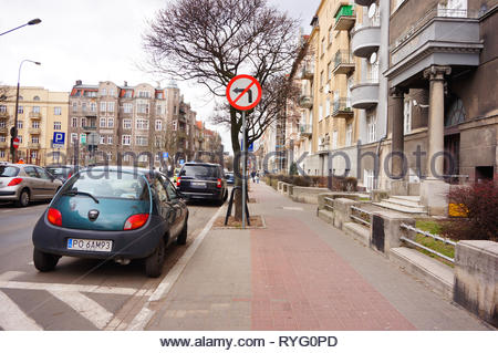 Poznan, Poland - March 8, 2019: Small Ford Ka parked on a parking spot in the city center. - Stock Photo