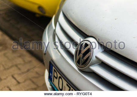 Poznan, Poland - February 24, 2019: Close up of Volkswagen Golf with logo and air dam. - Stock Photo