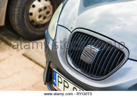 Poznan, Poland - February 24, 2019: Close up of a Seat car front. - Stock Photo
