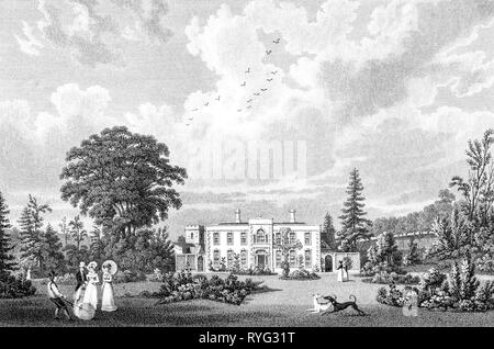 An engraving of Colesbourne House the Seat of Henry Elwes, Colesbourne, Gloucestershire UK scanned at high resolution from a book published in 1825. - Stock Photo