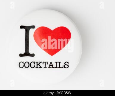 I love cocktails badge on light background - Stock Photo