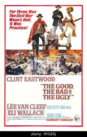 CLINT EASTWOOD, LEE VAN CLEEF, ELI WALLACH POSTER, THE GOOD  THE BAD AND THE UGLY, 1966 - Stock Photo