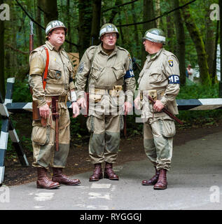 Woodhall Spa 1940s Festival - American soldiers military police MPs stood at the road block - Stock Photo