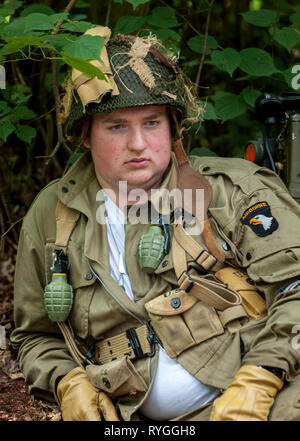 Woodhall Spa 1940s Festival - portrait of an American soldier from 82 Airborne Diviasion of World War 2 - Stock Photo