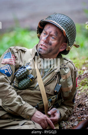 Woodhall Spa 1940s Festival - Woodhall Spa 1940s Festival - portrait of an American soldier an Airborne Diviasion of World War 2 - Stock Photo