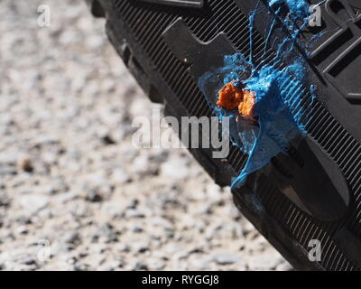 MASSA CARRARA, ITALY MARCH 12 15, 2019: Car tyre puncture repair, not beautiful but a practical solution to thorn stuck in side. - Stock Photo
