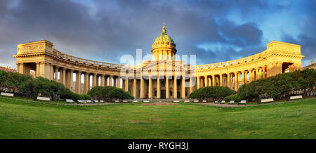 Panorama of Cathedral of Our Lady of Kazan, Russian Orthodox Church in Saint Petersburg - Stock Photo
