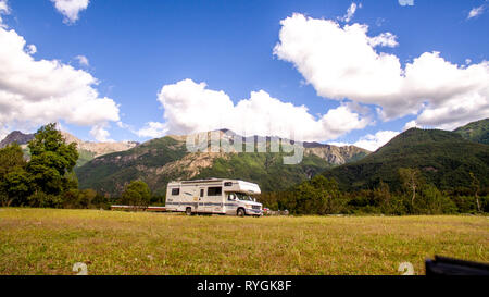 Motorhome in Chilean Argentine mountain Andes. Family trip travel vacation on Motorhome RV in Andes. - Stock Photo