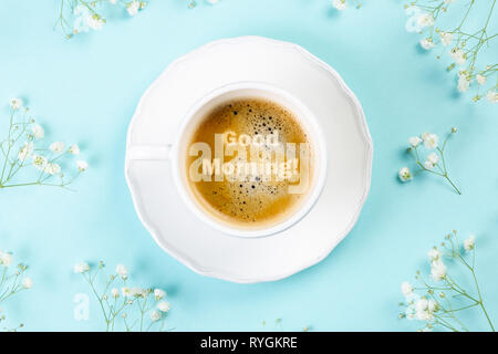 Good morning concept - coffee, flowers, notebook - Stock Photo