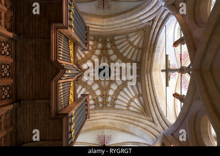 Looking up at the Central Tower in Wells Cathedral. - Stock Photo