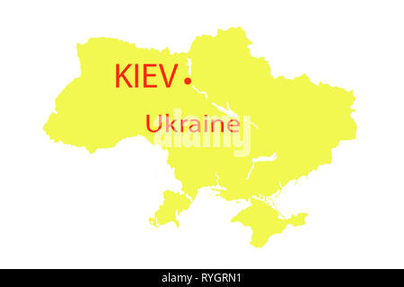 Map view of Kiev, Ukraine on a geographical map of Europe. - Stock Photo