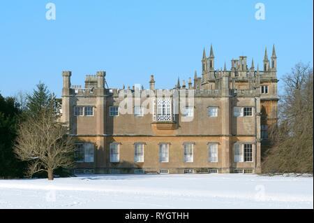Corsham Court mansion in snow, Corsham, Wiltshire, UK, Februray 2019. - Stock Photo