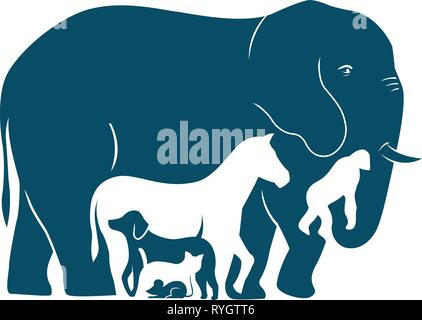 The illustration shows several mammal species as they increase in weight. Illustration done in the style silhouette - Stock Photo