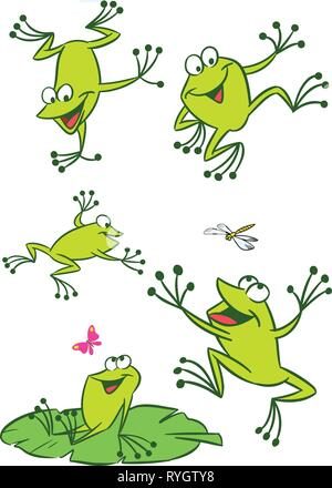 The illustration shows of some cartoon frogs  in various poses, as well as insects and water lilies. Funny frog on a white background, are on separate - Stock Photo
