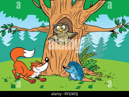 In the illustration cartoon animals in the forest. - Stock Photo