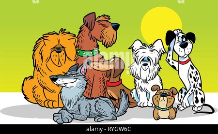 In vector illustration, a group of several dogs of different breeds, in a cartoon style. - Stock Photo