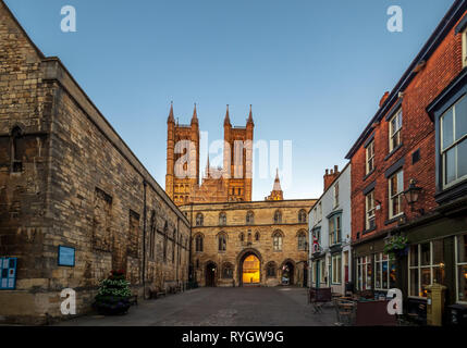 Lincoln United Kingdom - as the sun sets over the carthedral and old town - Stock Photo