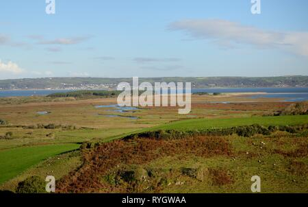 Overview of sheep pastures, Landimore Marsh, Whiteford Burrows and the Loughor Estuary, Llanmadoc, The Gower, Wales, UK, October. - Stock Photo