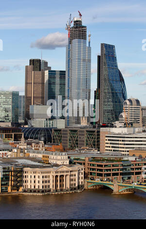 London from the top floor viewing terrace at the Blavatnik Building, Tate modern. London, late afternoon sunshine, Spring 2019 - Stock Photo