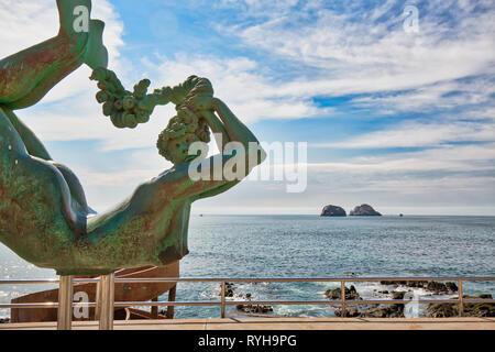 Mazatlan, Mexico-10 December, 2018: Sea Mermaid Statue located on scenic Mazatlan Promenade (Malecon) near the ocean shore and historic city center - Stock Photo