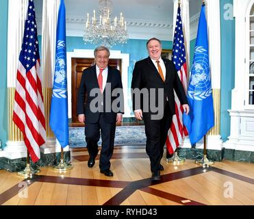 Washington, United States. 13th Mar, 2019. U.S. Secretary of State Mike Pompeo meets with UN Secretary-General Antonio Guterres at the State Department March 13, 2019 in Washington, DC Credit: Planetpix/Alamy Live News - Stock Photo