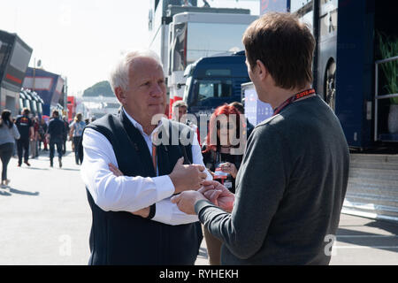 Barcelona, Spain. Feb 28th, 2019 - Charlie Whiting FIA race director from Great Britain day seven of F1 Winter Testing at Circuit de Catalunya. - Stock Photo