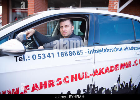 Lengede, Germany. 05th Mar, 2019. Tom Gerhard Tiessen, head of the A and G Driving Academy, sits in a driving school car. The European Court of Justice (ECJ) will decide on 14.03.2019 whether driving schools will be exempted from VAT. Tiessen had initiated the proceedings. Credit: Christophe Gateau/dpa/Alamy Live News - Stock Photo