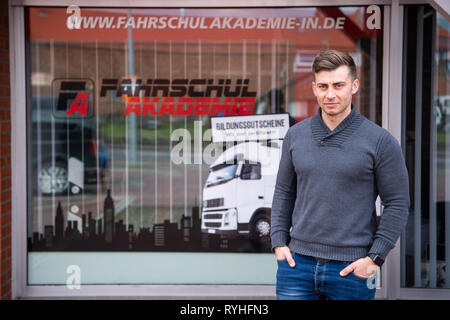 Lengede, Germany. 05th Mar, 2019. Tom Gerhard Tiessen, head of the A and G Driving Academy, stands in front of a branch of his driving school. The European Court of Justice (ECJ) will decide on 14.03.2019 whether driving schools will be exempted from VAT. Tiessen had initiated the proceedings. Credit: Christophe Gateau/dpa/Alamy Live News - Stock Photo