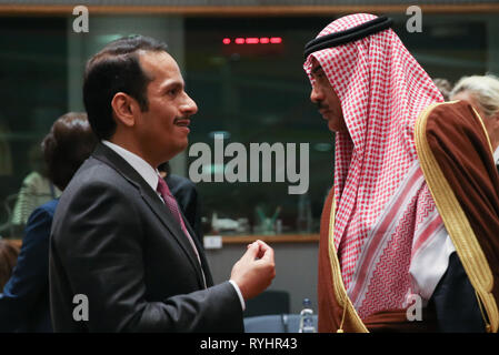 Brussels, Belgium. 14th Mar, 2019. Qatari Deputy Prime Minister and Minister of Foreign Affairs Sheikh Mohammed bin Abdulrahman Al-Thani (L) speaks with Kuwaiti Foreign Minister Sheikh Sabah al-Khalid al-Sabah before the third conference on 'Supporting the future of Syria and the region' - Meeting of Foreign Ministers at the EU Council in Brussels on March 14, 2019. Credit: Zheng Huansong/Xinhua/Alamy Live News - Stock Photo