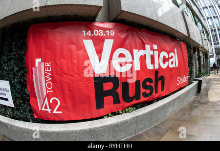 London, UK. 14th Mar, 2019. London, UK. Atmosphere at the Shelter Vertical Rush at Tower 42 on March 14, 2019 in London, England Ref: LMK386-J4495-140319 Gary Mitchell/Landmark Media.  Credit: Landmark Media/Alamy Live News Stock Photo