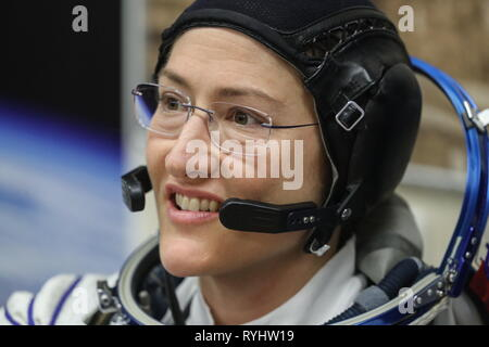 Baikonur, Kazakhstan. 14th Mar, 2019. BAIKONUR, KAZAKHSTAN - MARCH 14, 2019: NASA Astronaut Christina H. Koch of the ISS Expedition 59/60 prime crew during a spacesuit check before a launch to the International Space Station. The launch of a Soyuz-FG booster rocket carrying the Soyuz MS-12 spacecraft to the ISS from the Baikonur Cosmodrome is scheduled for March 14, 2019 at 22:14 Moscow time. Sergei Savostyanov/TASS Credit: ITAR-TASS News Agency/Alamy Live News - Stock Photo